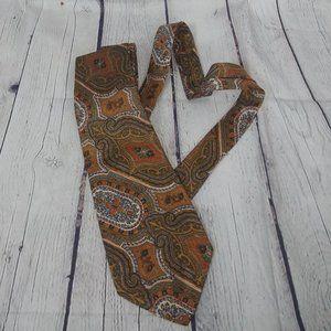 LANVIN brown bronze paisley print silk tie necktie